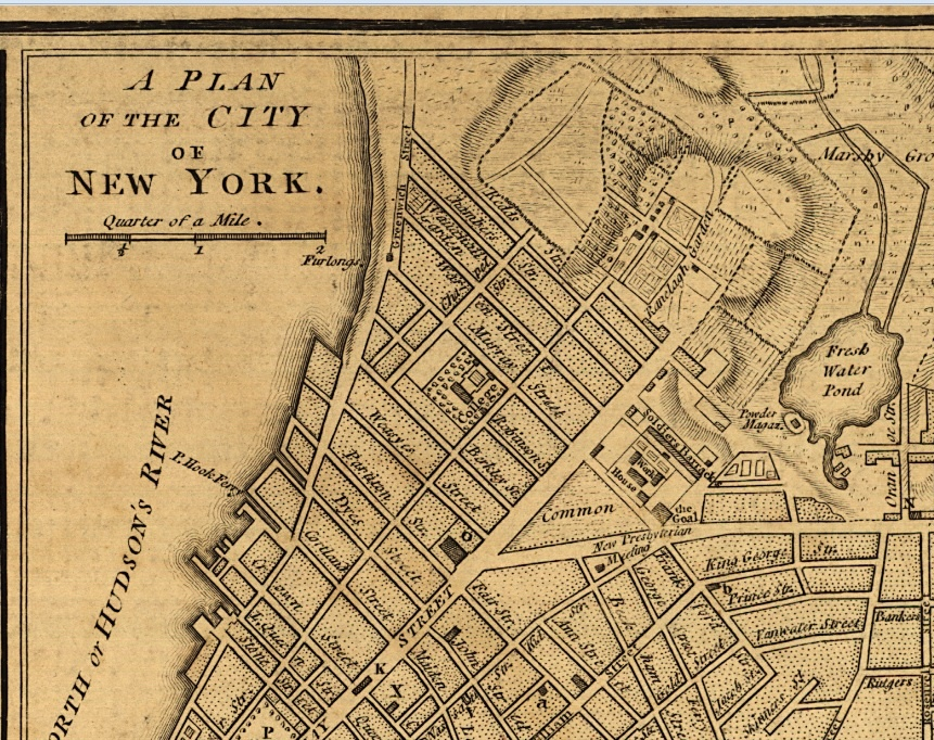 05.1 The provinces of New York and New Jersey; with part of Pensilvania, and the province of Quebec. (excerpt - NYC map for commons & college)